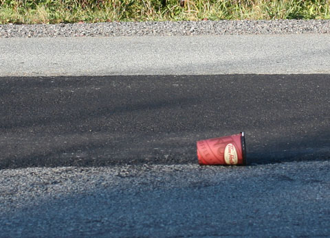Tim Hortons cup on street