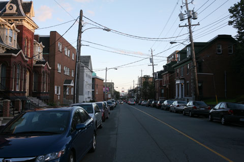 Street with power poles in Halifax