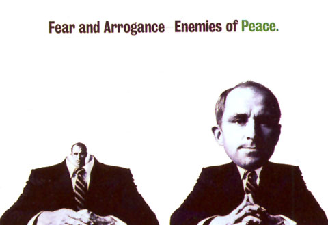 Ad for Peace with 2 individual sitting at a table one with a big head, the other one with a small head.