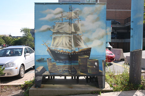 Feeder pillar containing a ship painting