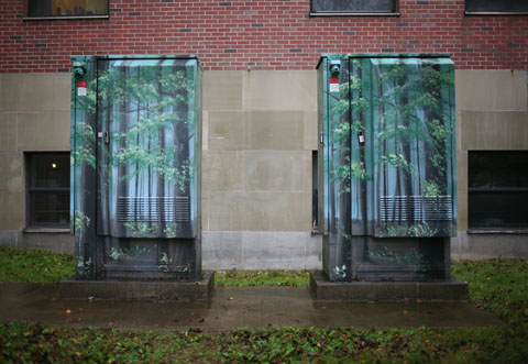 Feeder pillars containing a tree painting