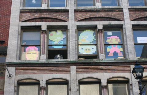 Windows with post-it art