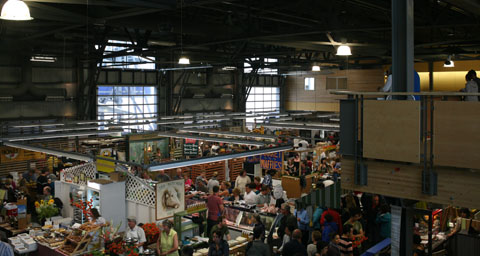 Market building with stands on the ground floor