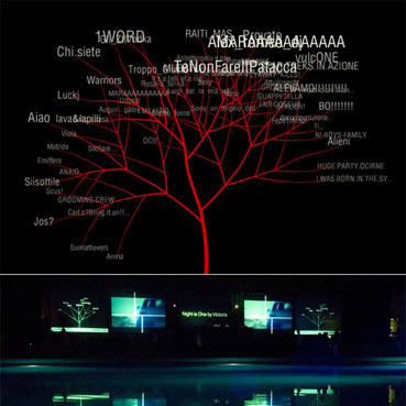 Screenings of the project Oneword, texts growing out of branches.