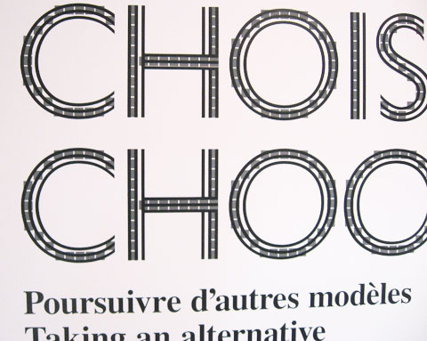 Words 'Choice/Choose' on exhibition wall