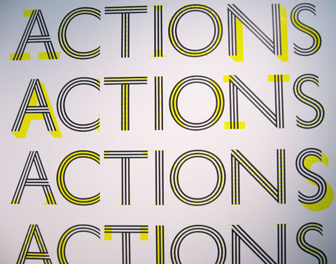 The words actions is written four times
