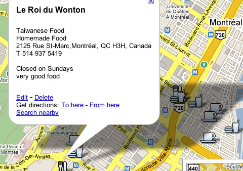 Excerpt from Favorite Food Montreal Google Map