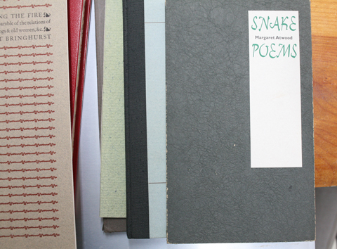 several covers of books on top of each other with a book called 'Snake Poems' on top of the pile