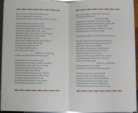 Double-page from the book 'Tending the fire' using red decorative border elements on top and bottom with black text-blocks inside