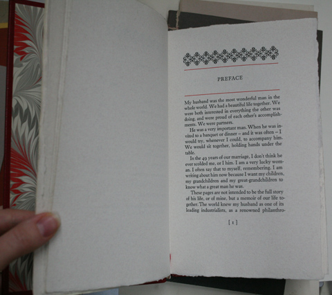 Page of preface with text block and initial decorations of letterpress-printed book