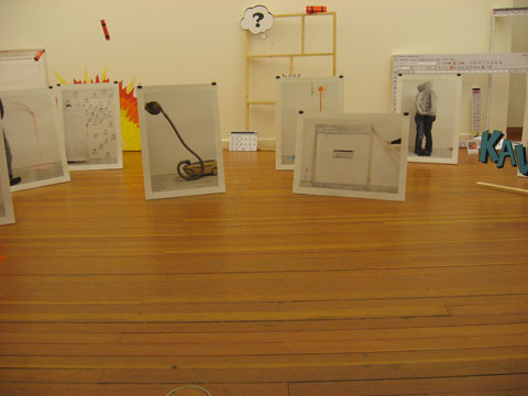 Installation of photographs at the exhibit