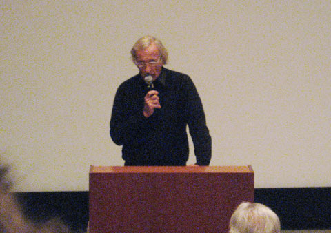 John Pilger talking at Concordia after the screening of his movie