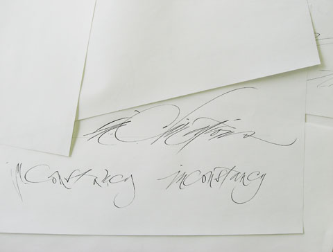Paper with calligraphic writing