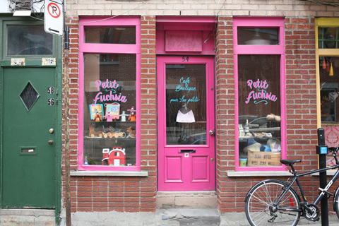 Shop front of the restaurant 'petit fuchsia' in Montreal