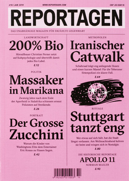 cover page of magazine with black text on pink background