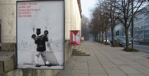 Outside of Haus der Kunst Muenchen with posters of current exhibitions