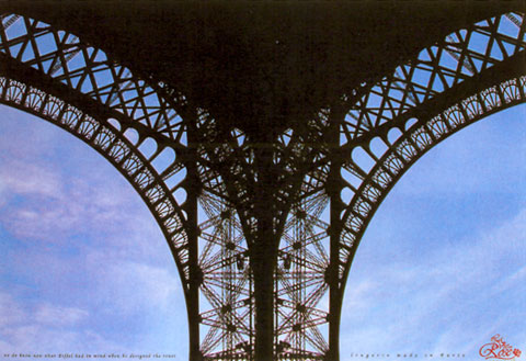 Ad showing a part of the Eifel Tower which represents woman's underwear