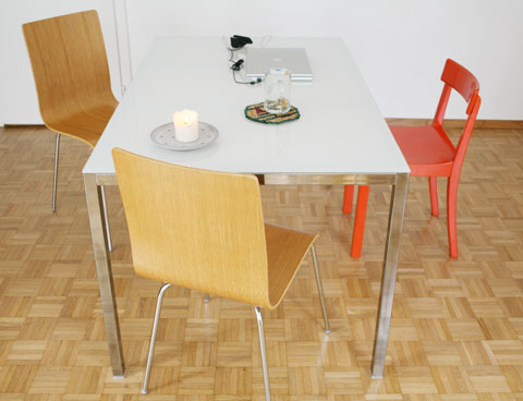 chairs and and table in kitchen