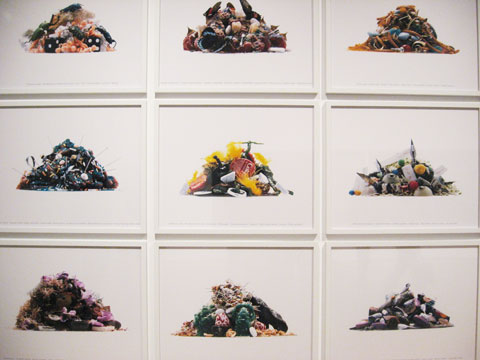 9 photographs of garbage amounts