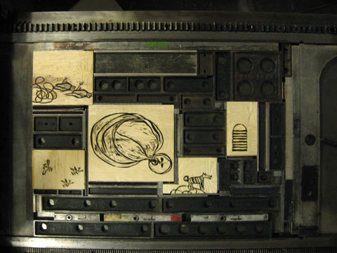 Linden woodblocks with illustrations on press