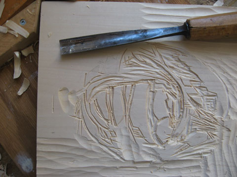 Linden woodblocks that are cut