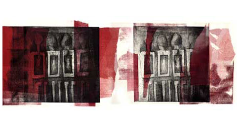 Black, and red etching with african elements. This is a Monoprint.