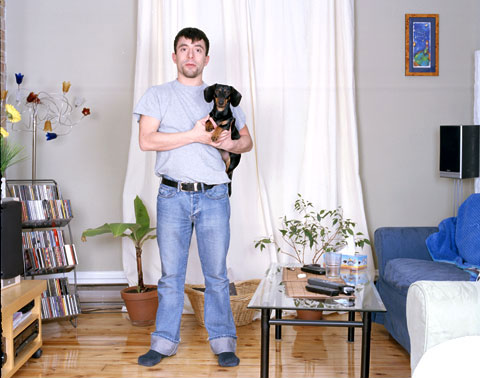 A portrait of Alexis and Dog, from the photography project 'Dog | Dog Owner'