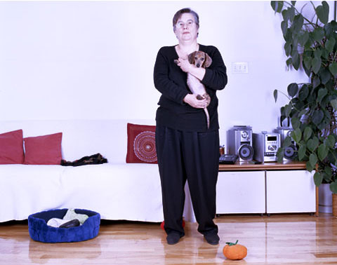 A portrait of Dominique and her dog Tama, from the photography project 'Dog | Dog Owner'