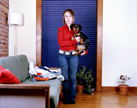 A portrait of Melanie and her dog Charlotte, from the photography project 'Dog | Dog Owner'