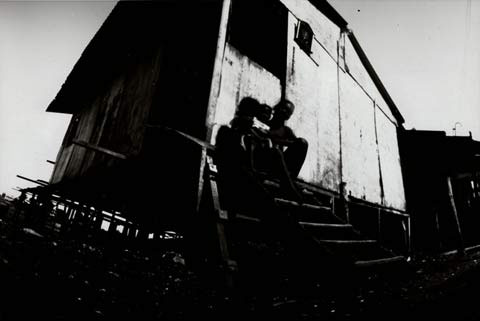 wodden slum barrack, from the pinhole photography project 'Favela - Ilha de Deus Pinhole'