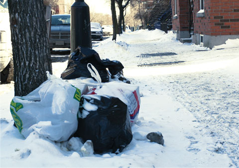 Black Garbage Bags on Rue Ontario E, Corner Rue Prefontaine on sidewalk