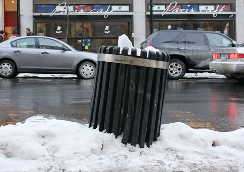 Garbage Can on Rue Ste Catherine, Corner Stanley
