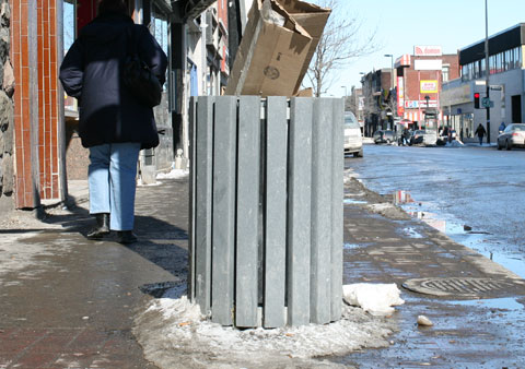 Garbage Can on Rue Ontario E, Corner Rue Moreau