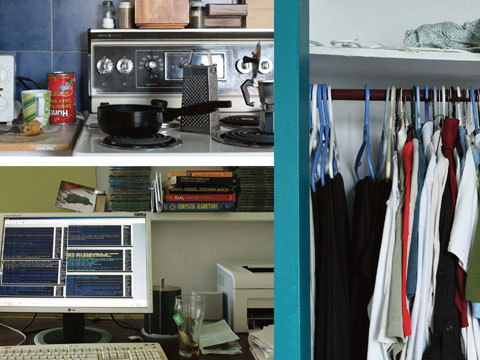 Kitchen, office space, closet of immigrant