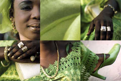 6 square images of a Senegalese woman wearing green, from the project ' Senegal - Green - Fishmarket - Coiffeur'
