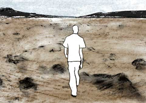 A man walking in a large landscape, from the animation 'Leben'