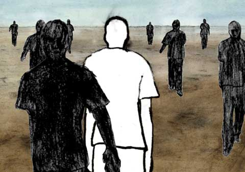 Portrait of a man walking with other individuals in the background, from the animation 'Leben'