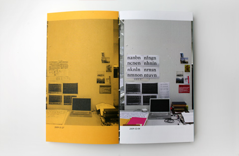 Double page on yellow and white paper containing photographs of a workspace