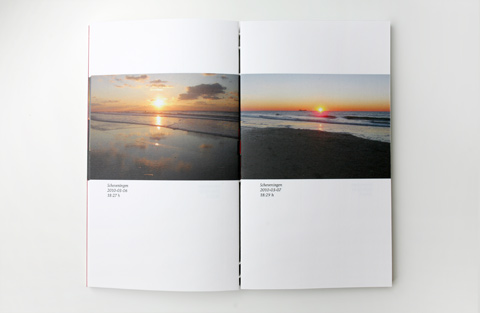 Double page on white paper containing photgraphs of the sea