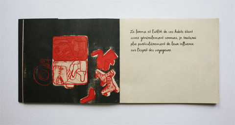 Book page with illustrated suitcase and text page