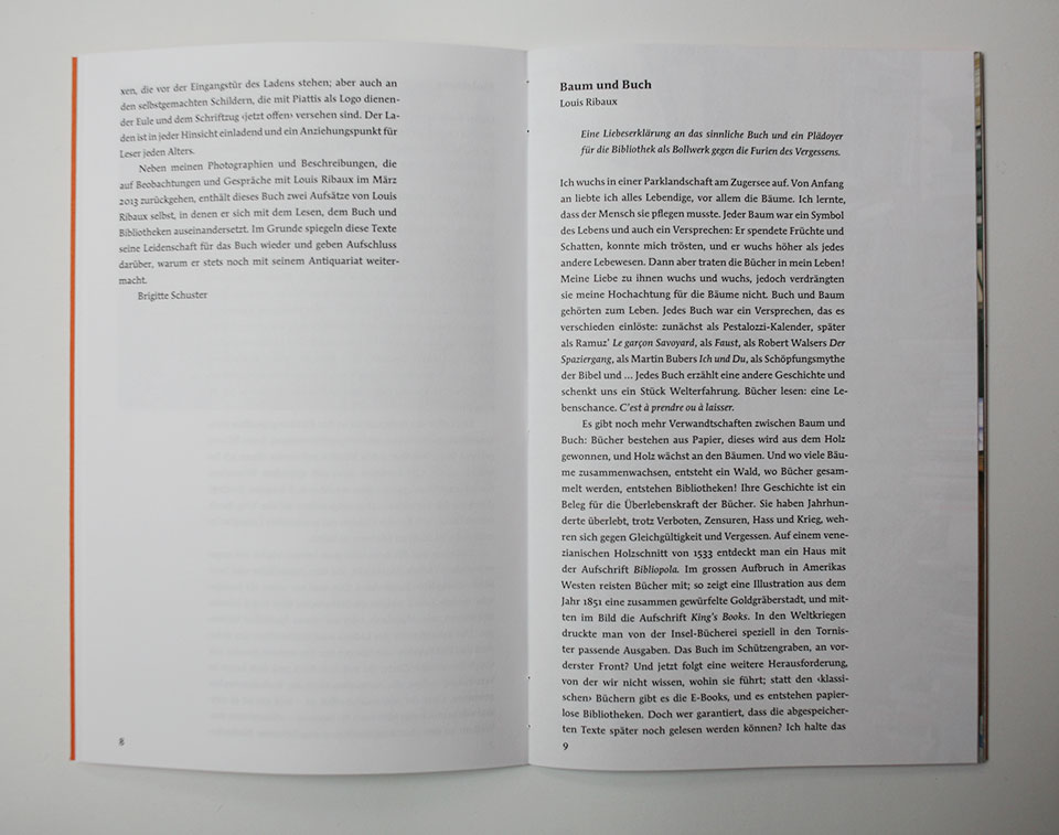 Spread in book with text
