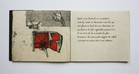 Book page with illustrated room and text page