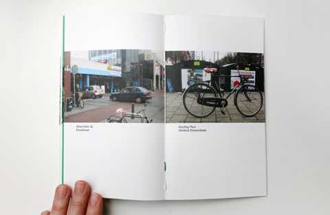 Double page on white paper containing photgraphs of locations with bikes