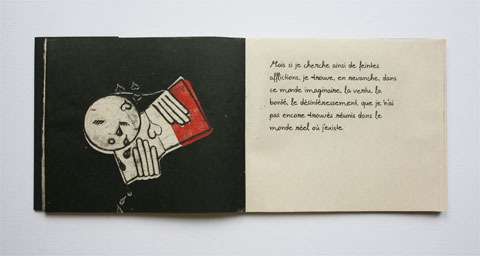Book page with illustrated books and text page