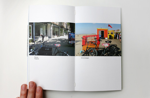 A further example of a double page on white paper containing photgraphs of locations with bikes