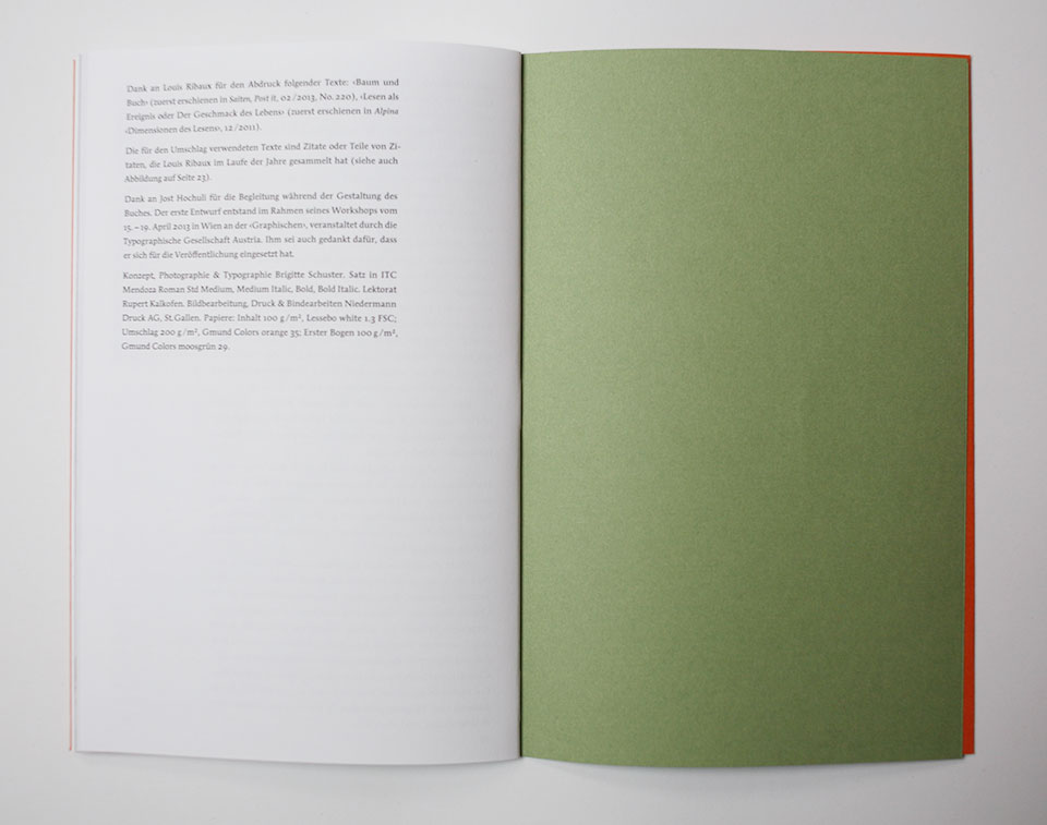 Book showing front paper and white page