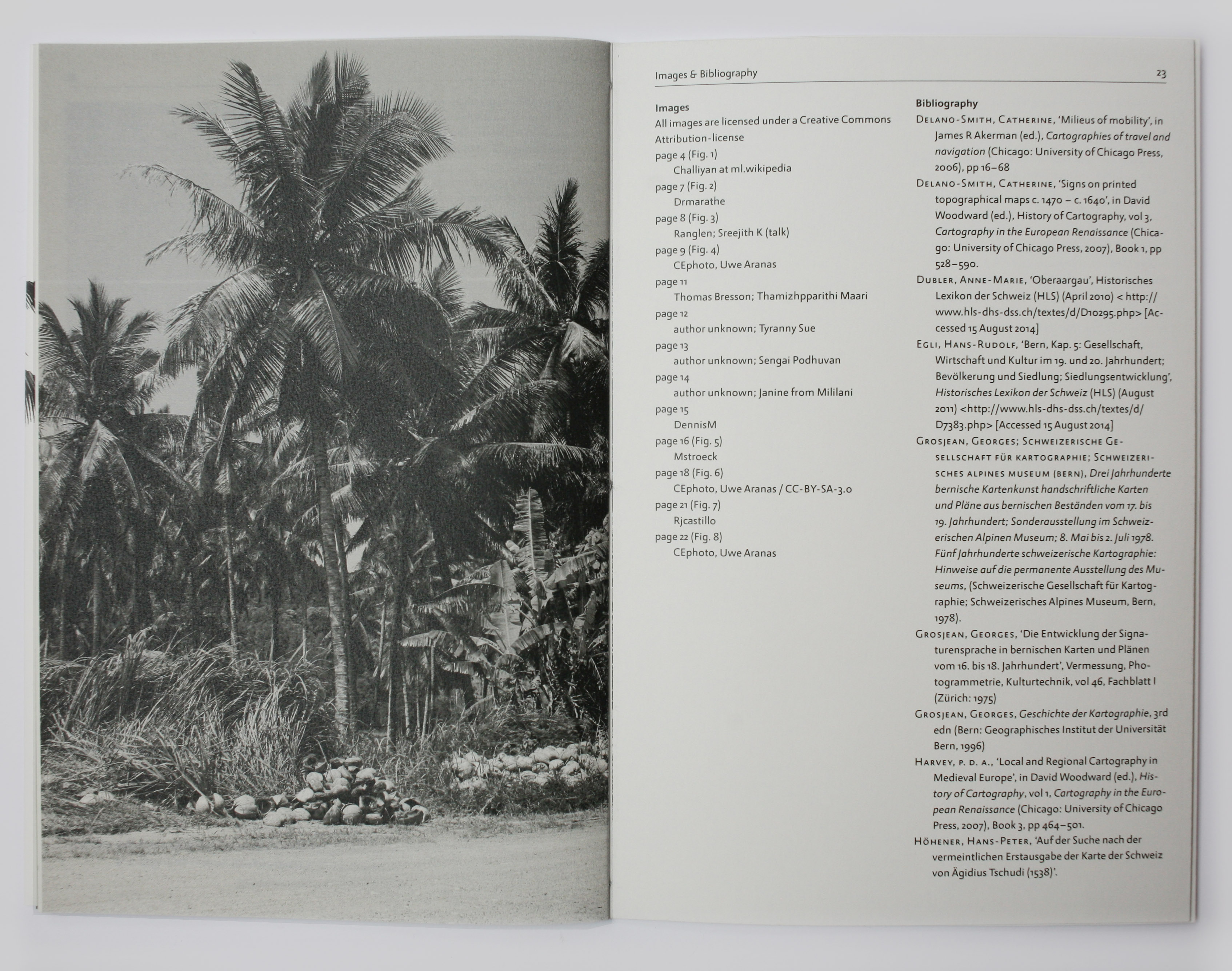 Spread in book with text and photographs