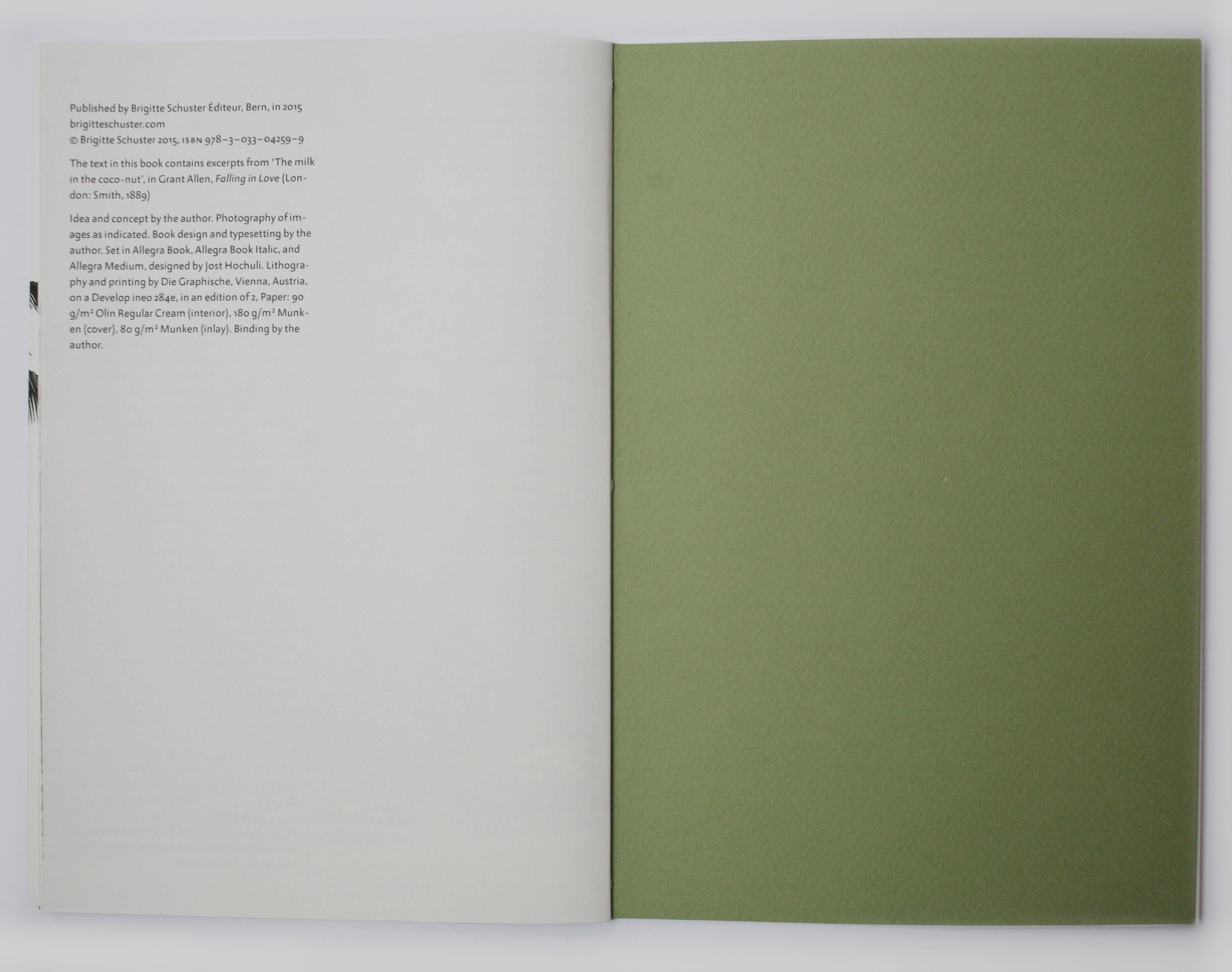 Book showing end paper and white page