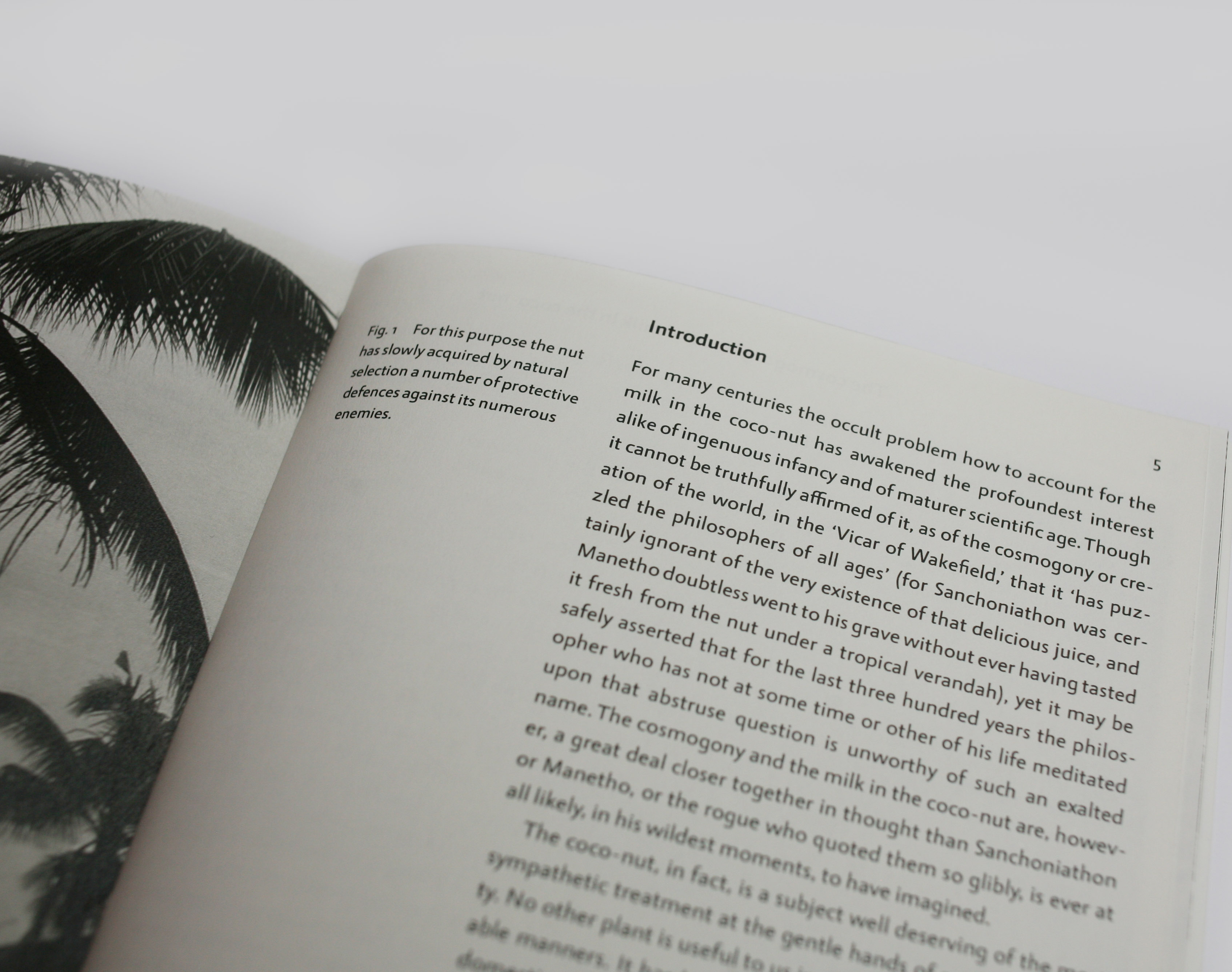 open spread of book containing text and an image with books