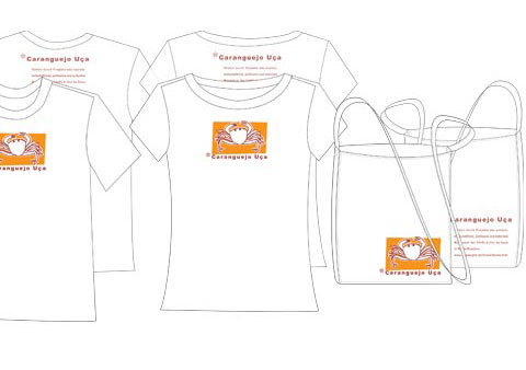Back and front of t-shirts and fabric bags containing the logo and text of 'Caranguejo Uca'.